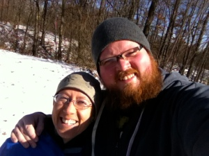 Me & Jay. Because we won't be seeing each other for over two years, he humored me by going for a snowy walk in the woods of southeast Michigan with me.