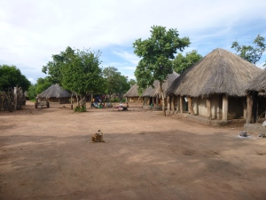 Gordon's house (right) is right in the middle of things, facing a main path and right up on his neighbors. He has to cross this path to use the chimbu (toilet).