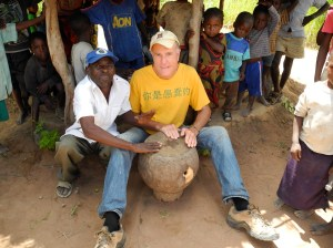 Steve playing the drum with Ba Boston at the welcoming party he organized for me when I first visited Mfuba in April 2013.