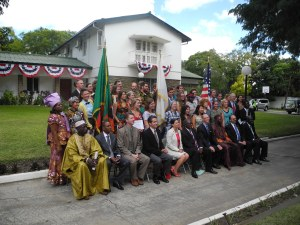 Post swear-in photo with all the new PCVs and the Lusaka PC big-wigs.