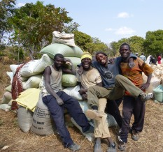 Men of Mfuba hamming it up while waiting for the Zambian FRA to weigh and buy their maize. Left to right: a guy I dont know, Ba Maxwell, Ba Ronaldi, and Bashi Simfia.