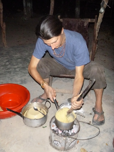 Samwell cooking ubwali at his place. It was our first time sharing ubwali since we were neighbors during training!