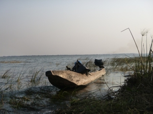A traditional canoe on the shore of Lake Lusiwasi, in Kate's backyard.