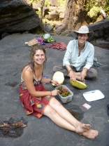 Kate and Samwell enjoying our delicious lunch of jackfruit and salad from Kate's garden.