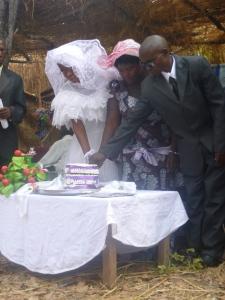 Cutting the cake.
