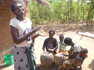 Singing and drumming at a traditional Bemba wedding.