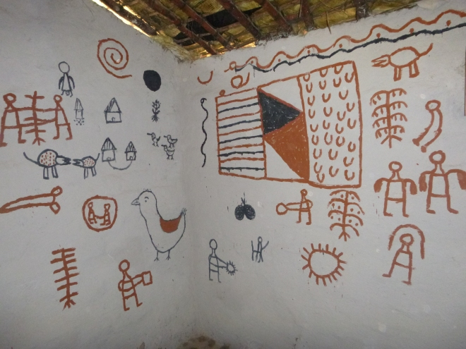 Instructional paintings inside the bride's parents' house. These are interpreted in an all-night ceremony the night before the marriage.