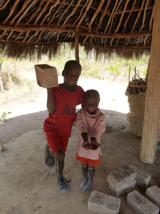 """Martin & Kamfwa holding (respectively) a brick and the """"sweeties"""" they were given (not DIRECTLY by me ...) to carry bricks from the school to my nsaka."""