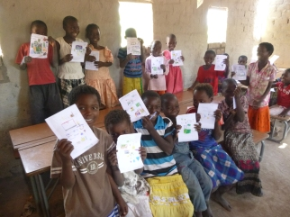 More Mfuba schoolkids with their drawings.