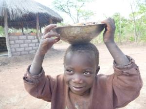 Katongo, with caterpillars on his head.
