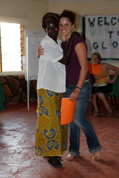 Ba Dorothy receiving her certificate from Kim, the PCV who pretty much ran the camp.