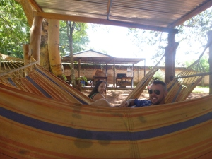 Socializing at the Northern Provincial Resource Center. Megan and Eric hangin' out in the hammocks on Christmas Day.