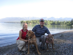 Me, Lee, Basil (left) and Roxy during a visit to Montana in 2011.