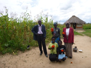 My Zambian family: Bataata, Ba Margaret, and Bamaayo, with Lucy and Libby up front.