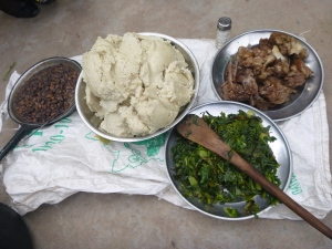 Ubwali feast we shared with Dan's neighbors on Zambian Independence Day. Because it was a celebration, and because a muzungu was hosting, there was an unusually large number of accompanying relishes: beans, greens (umusalu), and pork (usually reserved only for the well-to-do).