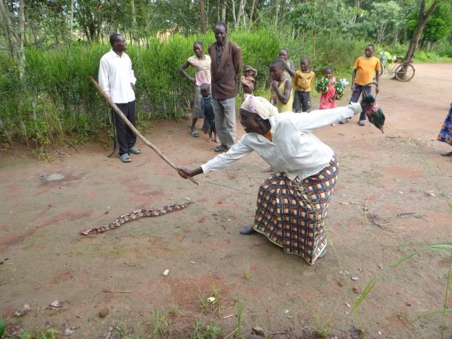 Ba Martha doing her own snake-killing reenactment.