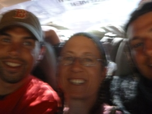 Zach, me, and Samwell in the clearest photo I got from inside the car. Did I mention this was a bumpy ride?