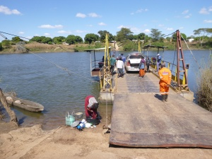 Kabompo River ferry crossing.