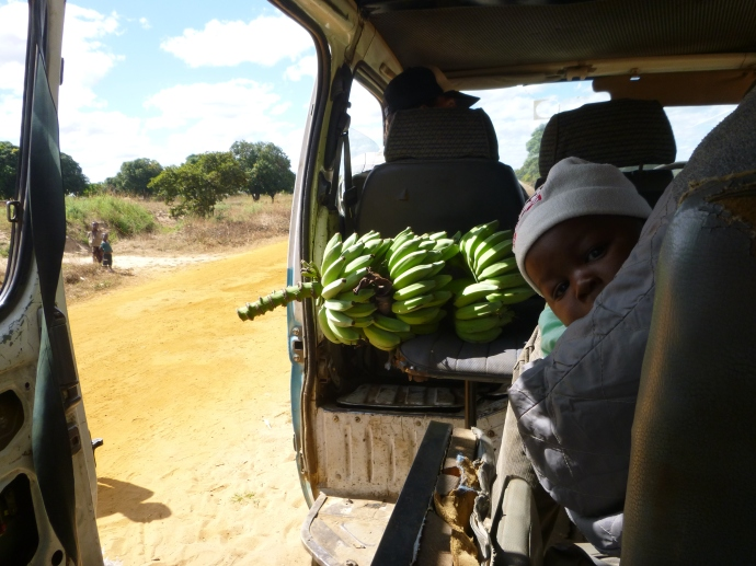 A typical minibus scene. This playful baby was a key component of our on-board entertainment.