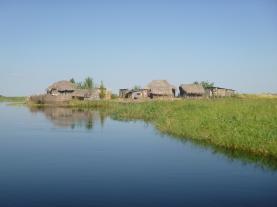 Grass homes in the Zambezi Floodplain.
