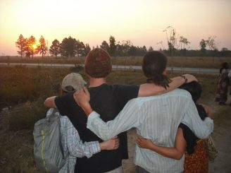 Watching the sunset at IST, in the early days of our service, with three of my best friends: me, Adam, Samuel, and Ryeon.