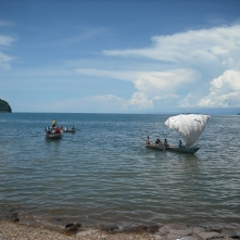 Appropriate Technology at its finest: maize sacks = sailboat on Lake Tanganyika.