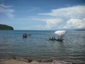 Appropriate Technology at its finest: maize sacks = sailboat on Lake Tanganyika.