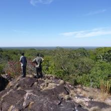 """Ba Bernardi and Ba Evans atop Mfuba's """"mountain."""""""