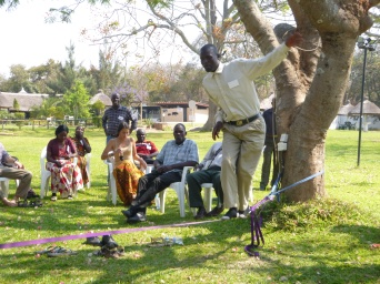 Cultural exchange! Teaching our Zambian counterparts to slackline. Not surprisingly, most of them were better at it than most of us Americans.