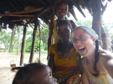 Hangin' out with some of my favorite people in Mfuba: Bwalya, Ba Agatha, and Gile (looking up from the corner).