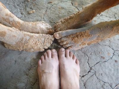 Muddy feet and muzungu feet. (The former are Stephen and Boyd's.)