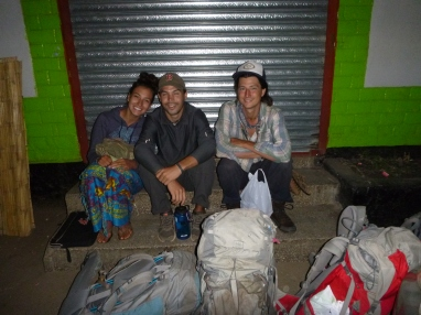 Start of the journey: Katie, Zach, and Samwell waiting for the early-morning bus from Lusaka to Solwezi.