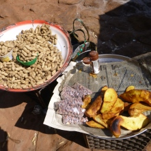 Groundnuts and fried sweet potatoes: my favorite street food.
