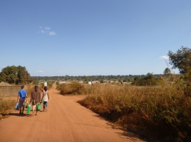 Walking to the Peace Corps Provincial House in Solwezi.