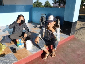 Breakfast outside our lodge in the town of Lukulu.