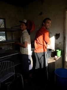 Samwell and Zach doing laundry in the dingy, slightly creepy Lyambai Hotel in Mongu.