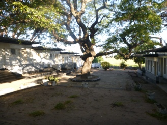 Courtyard of the run-down Lyambai Hotel - once a fancy lodge that hosted government officials from all over the country.