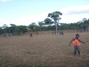 Lucky celebrating an Mfuba goal.
