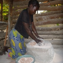 "Ba Deria, grinding millet. That's ""ukupela amale,"" in Bemba."