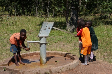 Newly installed in October 2013, Mfuba's first borehole is still an exciting new development.