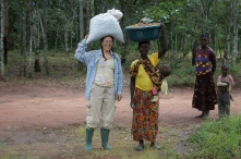 Me and Ba Lister carrying groundnuts from my field.