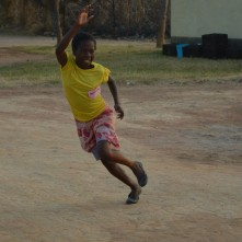Aggie runs for a ball at Luwingu Camp GLOW.