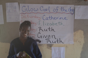 Ruth, who was GLOW Girl of the Day (by the PCVs) and then GLOW Girl of the Week (by the other girls).