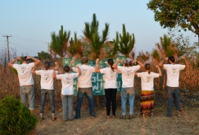 The Gu Crew, showing off our muscle at Luwingu Camp GLOW.