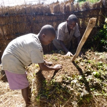 Bwalya and Boyd making compost.