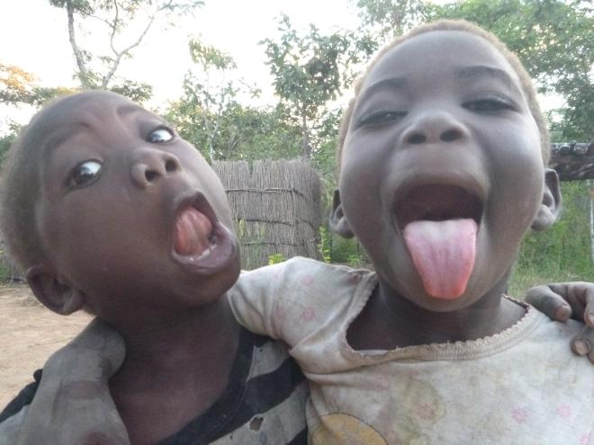 Katongo and Lavenda clowning around.
