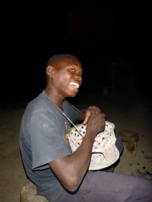 "Boyd with the charcoal brazier that doubles as a drum or ""heat necklace"" when the coals have gotten very low."