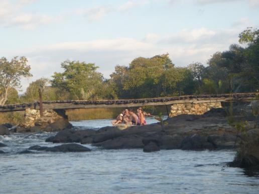 Negotiating a bridge underpass.