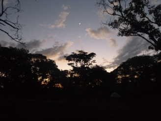 Crescent moon at camp, just after sunset.
