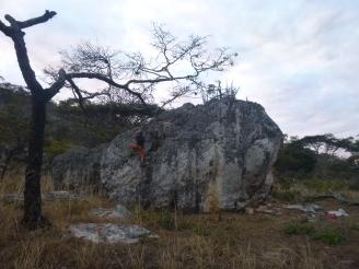 Bouldering!!!!! Adam on a rock.